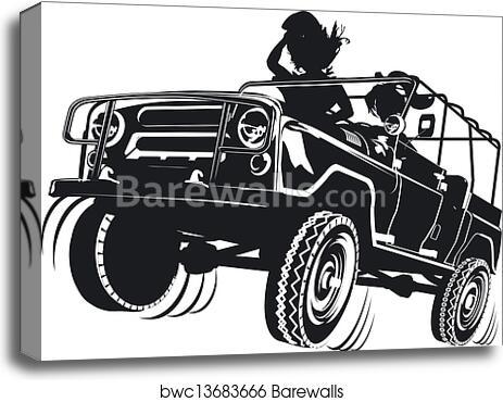 Jeep Detailed Silhouette Canvas Print Barewalls Posters Prints