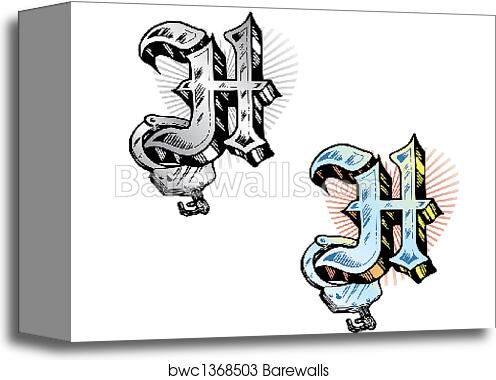 Canvas Print Of Tattoo Style Letter H Wit Barewalls Posters