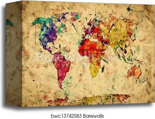 Canvas print of vintage world map colorful paint watercolor retro canvas print of vintage world map colorful paint watercolor retro style expression on grunge old paper gumiabroncs Gallery