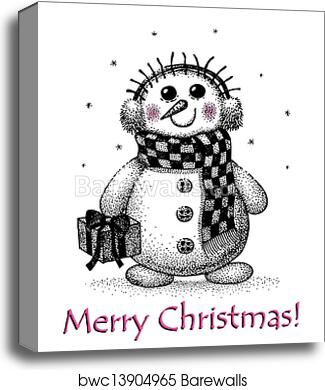 Christmas Card Drawing.Christmas Card With Snowman Drawing By Hand Canvas Print