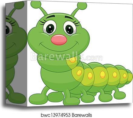 Cute Green Caterpillar Cartoon Canvas Print Barewalls Posters