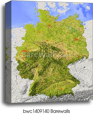 Map Of Germany To Print.Shaded Relief Map Of Germany Canvas Print