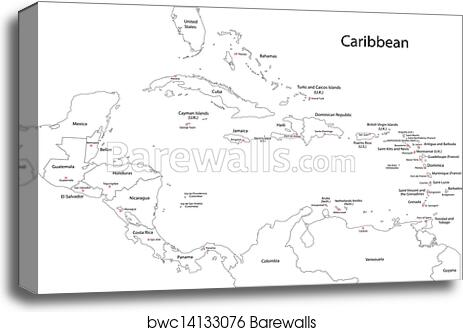 image about Printable Map of the Caribbean known as Determine Caribbean map canvas print
