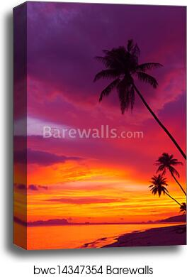 Wall Art Canvas Picture Print Paradise beach sunset tropical palm trees 3.2