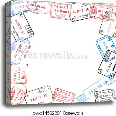 Canvas Print of Frame from passport visa stamps | Barewalls Posters ...