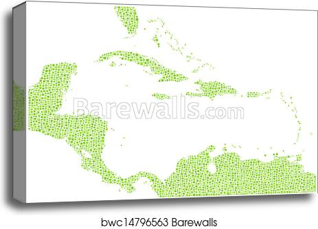 photo regarding Printable Map of Caribbean Islands titled Isolated map of Caribbean Islands canvas print