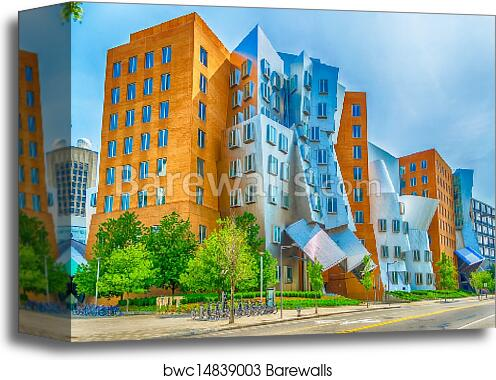canvas print of iconic postmodern architecture of mit strata center