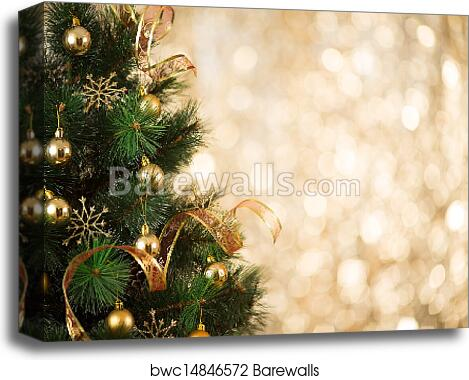 Gold Christmas Background Of Defocused Lights With Decorated Tree Canvas Print