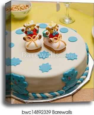 Baby Boy Birthday Cake With Cute Sh Canvas Print