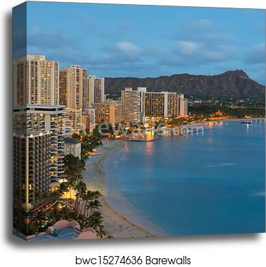 Night View On Honolulu City And Waikiki Beach Canvas Print