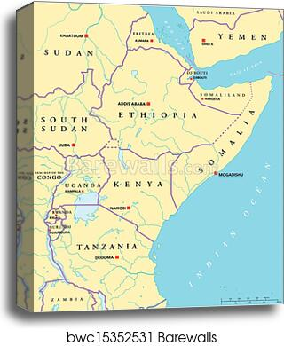 East Africa And Southern Africa Political Map.East Africa Political Map Canvas Print
