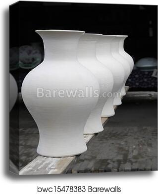 Drying porcelain vase blanks canvas print