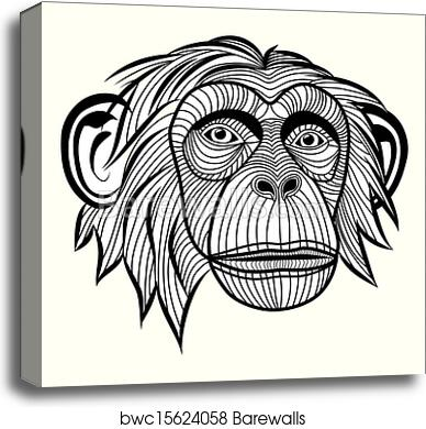 CHIMPANZEE MONKEY HEAD PORTRAIT ANIMAL PAINTING PET ART REAL CANVAS PRINT