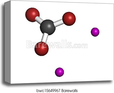 Lithium carbonate (Li2CO3) bipolar disorder drug, chemical structure  Atoms  are represented as spheres with conventional color coding: carbon (grey),