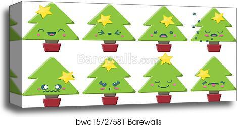 Kawaii Christmas.Cartoon Kawaii Christmas Tree Set Canvas Print