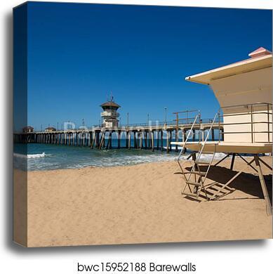 Huntington Beach Pier Surf City Usa With Liuard Tower Canvas Print