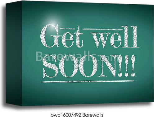 canvas print of get well soon message illustration design