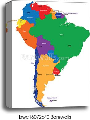 image regarding South America Map Printable called South The us map canvas print