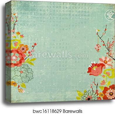 Chinese Lotus Flower Background Canvas Print Barewalls Posters