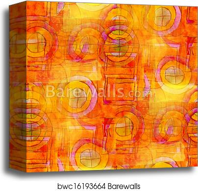 Artist Orange Seamless Cubism Abstract Art Picasso Texture Watercolor Wallpaper Background Canvas Print