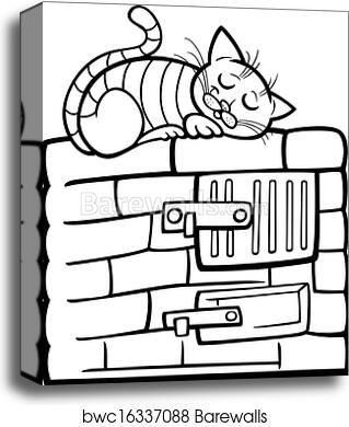 Cat On Stove Cartoon Coloring Page Canvas Print