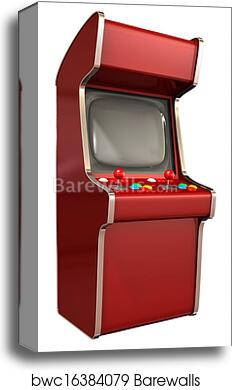A vintage red unbranded arcade game with a joystick and four various  colored buttons and a blank screen on an isolated white background canvas  print