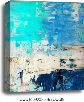 Beige And Blue Abstract Art Canvas Print