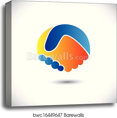 Concept vector graphic icon - business people or friends hand shake  This  illustration can also represent new partnership, friendship, unity and