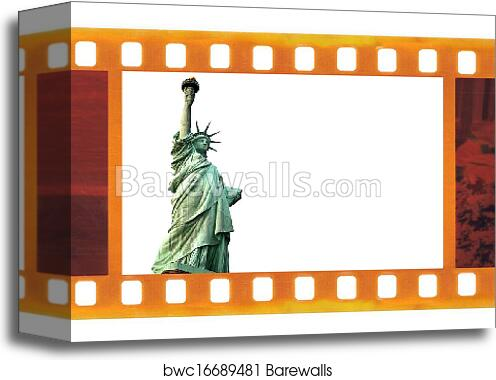 Canvas Print Of Vintage Old 35mm Frame Photo Film With Ny Statue Of