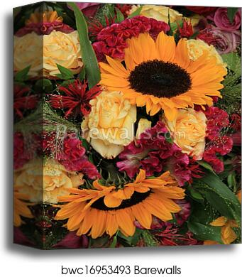 Canvas print of yellow and red flower arrangement barewalls canvas print of yellow and red flower arrangement mightylinksfo