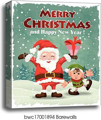 Vintage Christmas Poster Design Wit Canvas Print