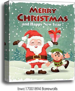 Christmas Posters.Vintage Christmas Poster Design Wit Canvas Print