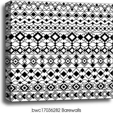 Canvas Print Of Art Deco Borders In Black And White