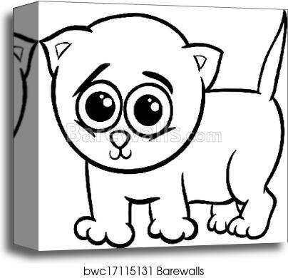 Baby kitten cartoon coloring page canvas print
