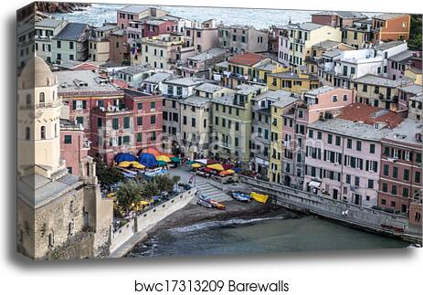 Village Of Vernazza Home Decor Wall Art Art Print // Canvas Print Poster