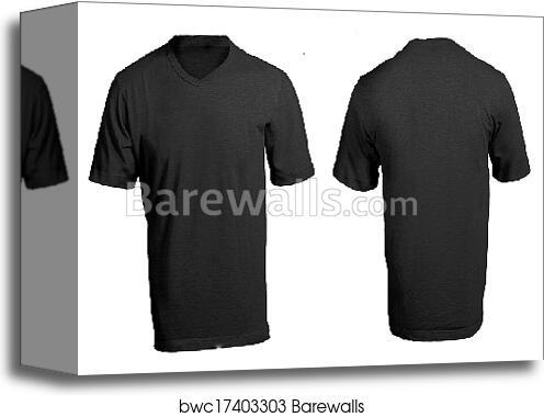 Mens Blank Black V Neck Shirt Template Canvas Print
