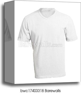 Canvas Print Of Mens Blank White V Neck Shirt Template