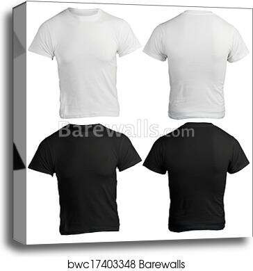 Canvas Print Of Mens Blank Black And White Shirt Template