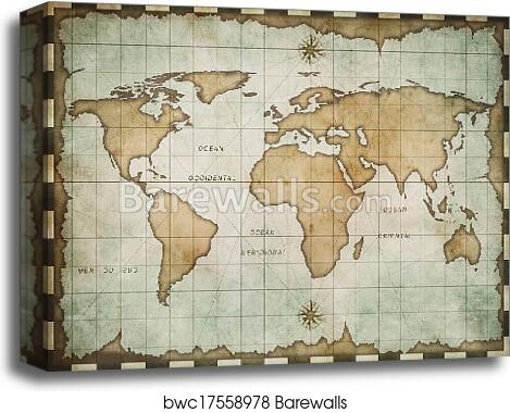Aged old world map, Canvas Print | Barewalls Posters & Prints ...