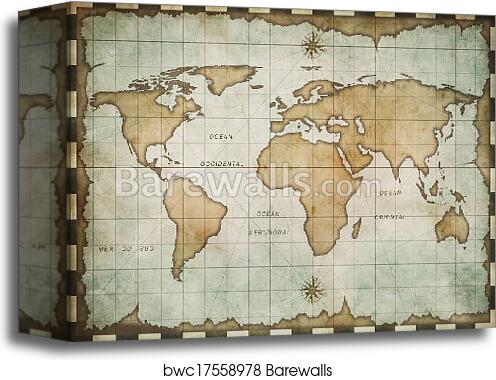 Old World Map Canvas.Aged Old World Map Canvas Print Barewalls Posters Prints