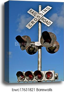 Railroad Crossing Lights and Signs canvas print