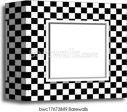 Canvas Print Of Black And White Checkered Frame With Frame