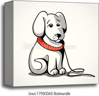 Lost sad dog vector illustration canvas print