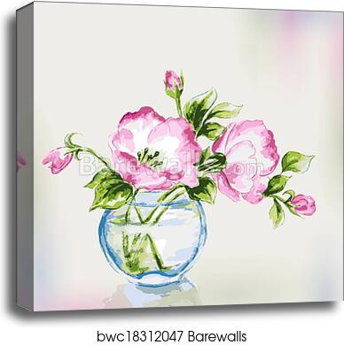 PINK ROSE BOUQUET in VASE Early 1900s Painting Cottage Antique Vintage ART PRINT