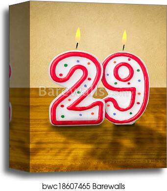 Canvas Print Of Burning Birthday Candles Number 29