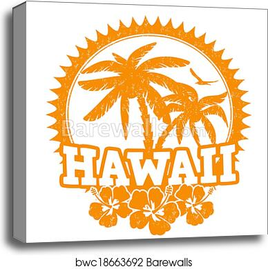 Canvas Print Of Hawaii Stamp