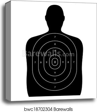 Canvas print of shooting range human target