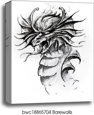 Dragon head, sketch of tattoo canvas print