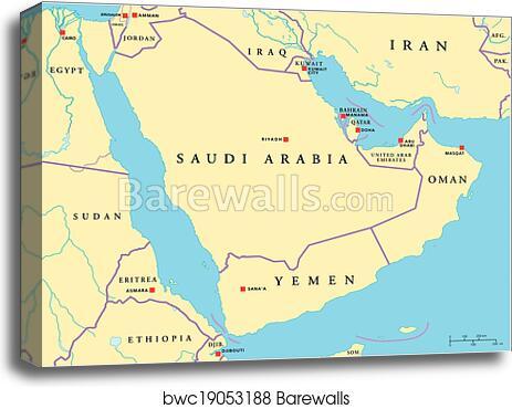 canvas print of arabian peninsula political map