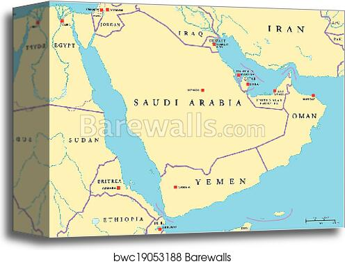 Canvas Print of Arabian Peninsula Political Map   Barewalls Posters ...